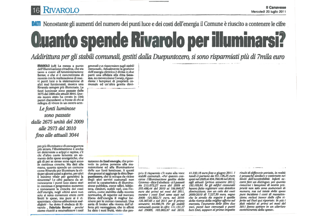 """IL CANAVESE: """"How much does Rivarolo's township spend for lighting up?"""""""